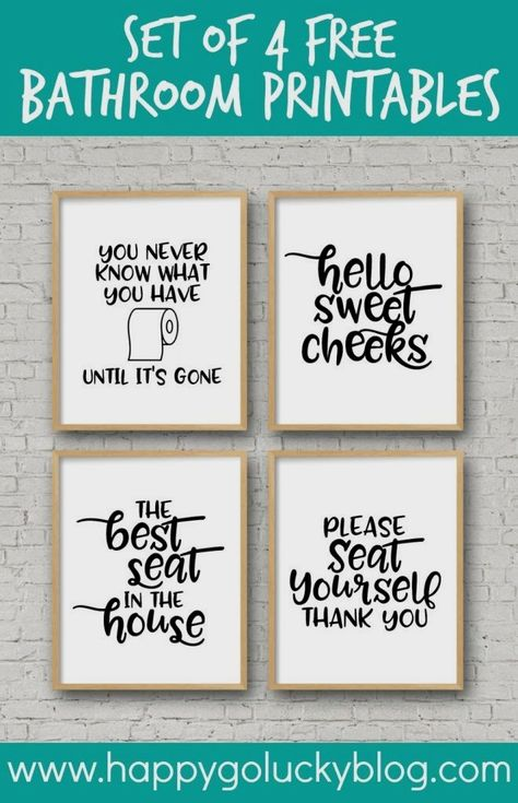 Decorate your bathroom with these simple and fun Printable Bathroom Signs. Just download, print, and add these bathroom printables to your favorite frame.