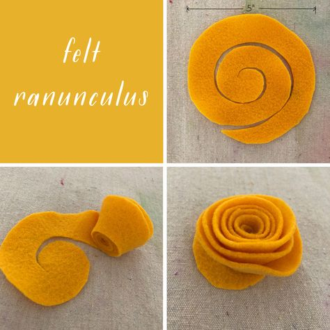 Make felt ranunculus for a Frida Kahlo flower crown. Kids and teens make Frida Kahlo flower crowns using felt, a headband, and some hot glue. Perfect for dress-up or Halloween! Diy Flower Crown, Diy Crown, Flower Crowns, Flower Hair, Felt Roses, Felt Flowers, Diy Flowers, Felt Diy, Handmade Felt