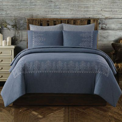 Buy Cottage Classics Chambray Cotton Embroidered Border Duvet