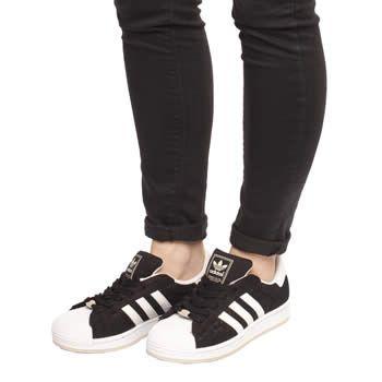 adidas black superstar sneaker womens