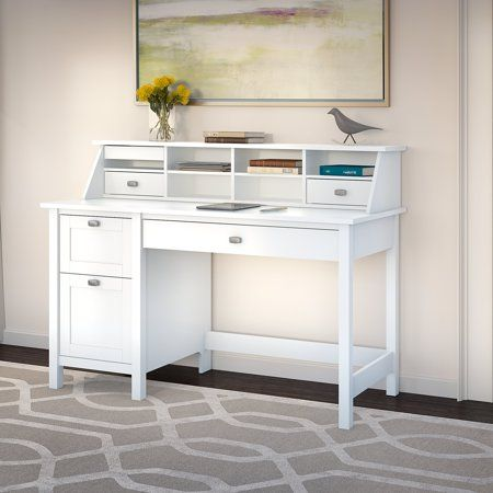 Bush Furniture Broadview Computer Desk With 2 Drawer Pedestal And Organizer In Pure White Walmart Com White Desk With Drawers White Computer Desk Computer Desk With Shelves