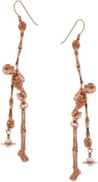 Vivienne Westwood Vivienne Westwood Skeleton Earrings in Gold Skull Jewelry, Cute Jewelry, Jewelry Box, Jewelry Accessories, Jewelry Stores, Jewelry Gifts, Jewlery, Etsy Jewelry, Moon Jewelry