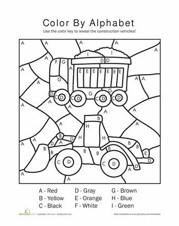 Color By Letters Worksheet Education Com Transportation Preschool Preschool Construction Numbers Preschool Color by letter worksheets for preschool