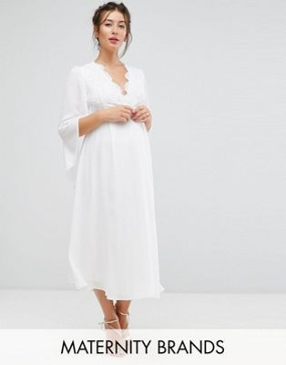 Queen Bee Maternity Lace Midi Dress With Kimono Sleeves In