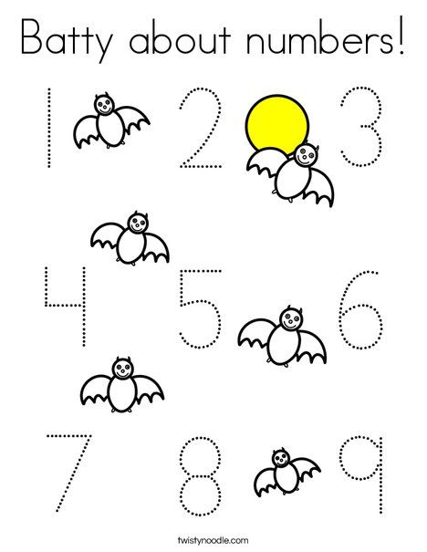 Batty About Numbers Coloring Page Twisty Noodle Fall Preschool Worksheets Fall Preschool Halloween Classroom