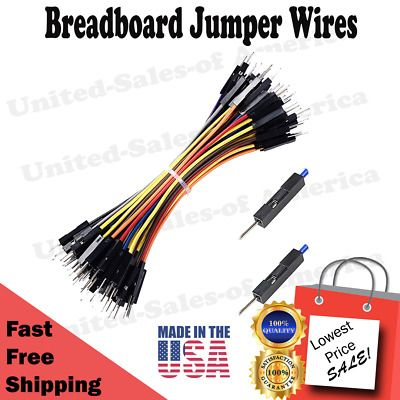 Ad Ebay Breadboard Jumper Wires Male To Male 0 1 Square Head 100 Pack 24awg 10 Colors Bread Board Male To Male Square