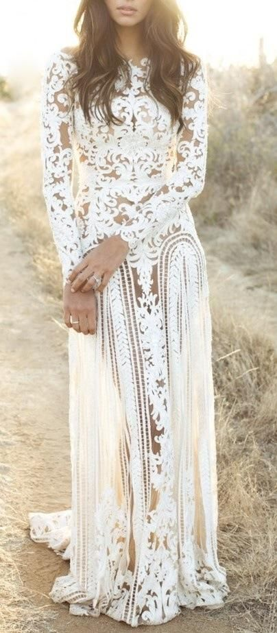 Bohemian Style White Lace Dress: so stunning! This would be my wedding dress beach side! Lace Wedding Dress With Sleeves, Lace Sleeves, Lace Maxi, Dress Lace, White Lace Boho Dress, Fringe Wedding Dress, Floral Maxi, Sheer Wedding Dress, Cutout Dress