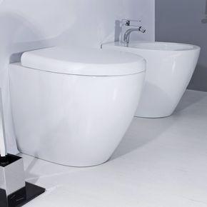 Sedile Bidet Per Wc.Sanitari Filo Muro In Ceramica Wc E Bidet Dal Design Moderno Con Sedile Soft Close Bidet Design Moderno Moderno