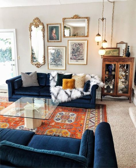 Design Living Room, Boho Living Room, Blue Couch Living Room, Living Room Vintage, Blue And Orange Living Room, Vintage Room, Blue Rooms, Bohemian Living, Cozy Eclectic Living Room