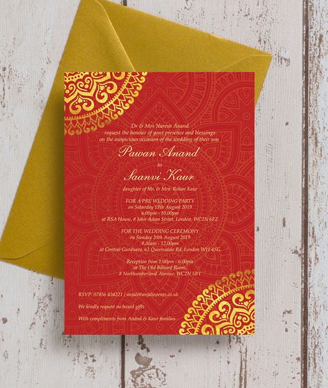 Personalised Red & Gold Mandala Indian / Asian Wedding Invitations. Printable PDF or Printed & Delivered