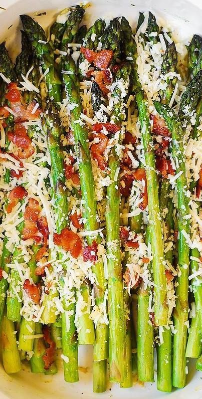 Oven-Roasted Asparagus with Bacon, Garlic, and Asiago cheese