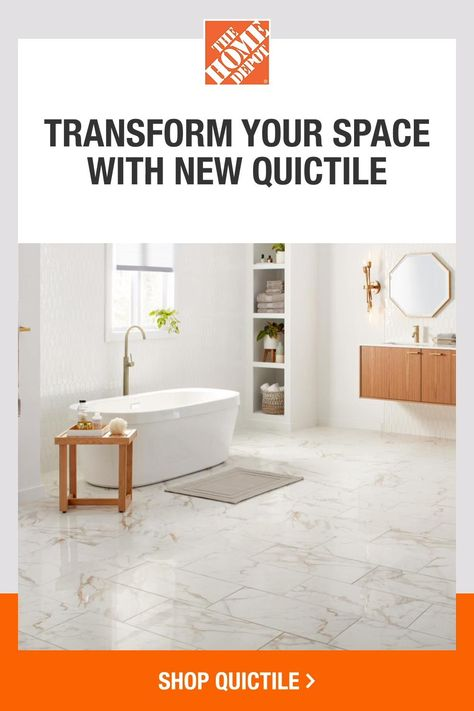 QuicTile is real porcelain, can install over existing floors and can be completed with three easy steps. Start by laying down your underlayment. Simply click your tiles together. Finish with grout, and you're done. It's that easy. Save time and money with easy, affordable QuicTile. Click to shop bathroom, kitchen, living room flooring and more now at The Home Depot.