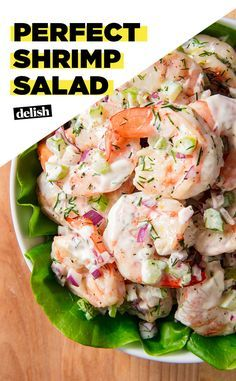 delish.com Shrimp Salad  5 Stars -16 reviews · 20 minutes · Gluten-free · Serves 2 · Make this fresh and simple shrimp salad from Delish.com for your next gathering. Personally, I would not add red onions - but that's just me. The rest of it sounds amazing!