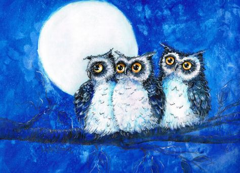 Items similar to Owls, Three Baby Owls, art print of my original work on Etsy