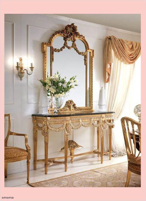 سمسمة سليم كتالوج صور كونسول ومراية مدخل المنزل موديلات 2020 Classic Home Decor Baroque Decor Designer Console Table