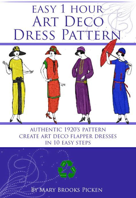 Easy 1 Hour Art Deco Dress Pattern Create A Vintage Downton Etsy Art Deco Dress Deco Dress Dress Pattern
