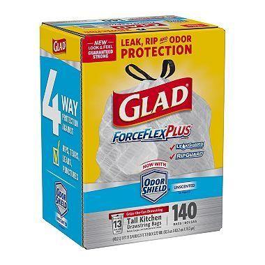Glad ForceFlex Tall Kitchen Drawstring Trash Bags (13gal,140 ...