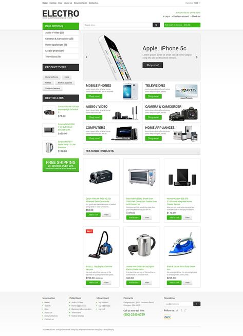 Electronics Store Responsive Shopify Theme #48897 in 2019