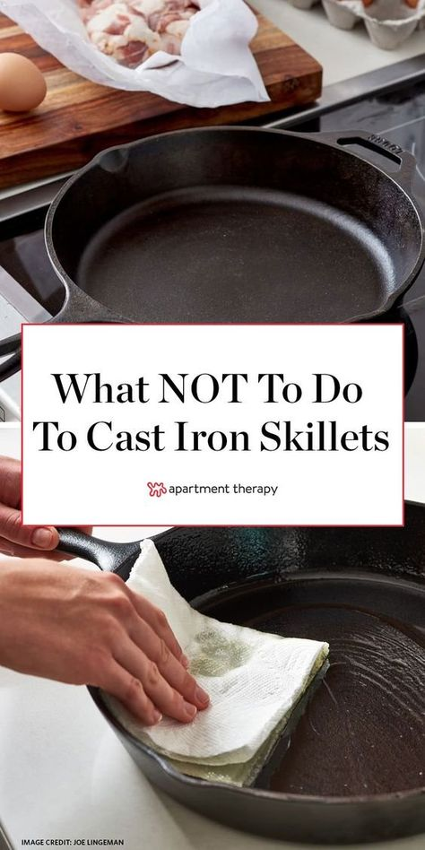 6 Things You Should Never Do to Your Cast Iron Skillet Here's what NOT to do when cleaning your cast iron skillet. Electric Skillet Recipes, Iron Skillet Recipes, Cast Iron Recipes, Skillet Meals, Cast Iron Skillet Cooking, Cast Iron Skillet Burgers, Cast Iron Care, Seasoning Cast Iron, Soft Foods