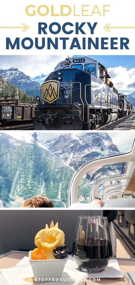 What is the Rocky Mountaineer Gold Leaf Experience Like? What is the Rocky Mountaineer Gold Leaf Experience Like?,World Travel Rocky Mountaineer train in Canada – luxury Gold Leaf train trip from Banff to Vancouver. Top Travel Destinations, Places To Travel, Holiday Destinations, Budget Travel, Travel Ideas, Travel Guide, Nightlife Travel, Time Travel, Canada Travel