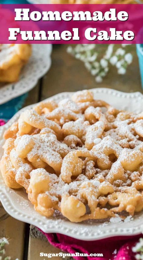 Make your own carnival-worthy FUNNEL CAKES at home! No funnel necessary! #funnelcake #carnivalfood #summerfood #sugarspunrun