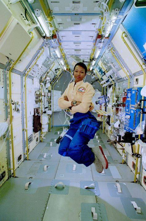 Astronaut Mae Jemison, first African-American woman in space, seen here aboard the Shuttle Endeavour... - #black #history #jemison #mae #month #space