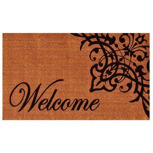 Skelley Scroll Welcome 29 In X 17 In Non Slip Outdoor Door Mat Door Mat Outdoor Door Mat Welcome Door Mats