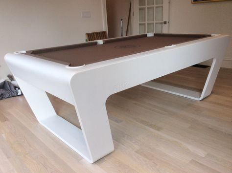Modern 24.7 Pool Table At Luxury Boston Home. Table Color: Cameo White;  Felt: Camel | 247 Premium Pool Table | Pinterest | Pool Table