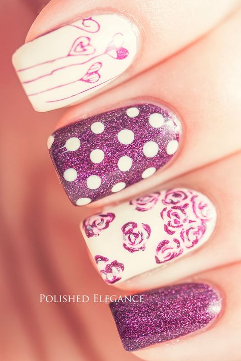Pink skittle manicure mani nail art OPI - DS Extravagance