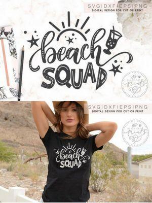 Cute Beach Squad Svg For Cricut Projects Beach Squad Svg Dxf Eps Png By Theblackcatprints Affiliate Cricut Silhouette Svg Beachsquad Be Beach Cricut Svg