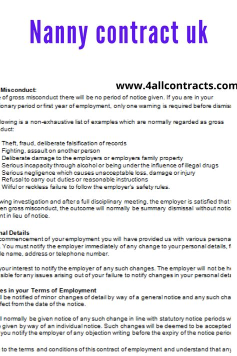 Nanny Employment Contract Uk In 2021 Nanny Contract Template Nanny Contract Contract Template