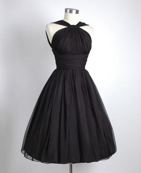 Black chiffon party dress.