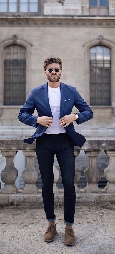 914bdc9cae8e Business casual outfit inspiration with a navy blazer white t-shirt denim  white pocket square no show socks suede shoes sunglasses #menswear #casual  ...
