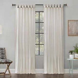 Archaeo Washed Cotton Twist Tab Single Curtain Panel Ivory Curtains Panel Curtains Curtains