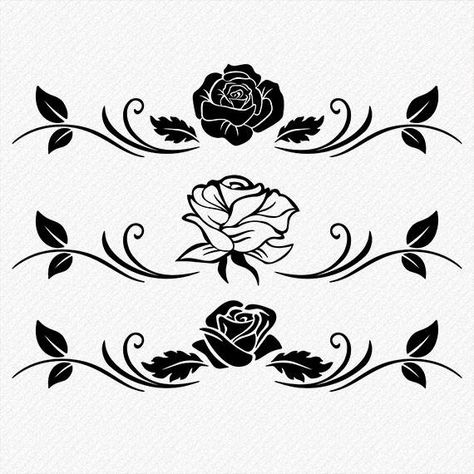 ►INSTANT DOWNLOAD This is a digital product no physical product. Rose silhouette, Vector Silhouette, print and cut files for tattoo design, t-shirt design, scrapbook, sticker, wall decor, scroll saw cutting, car decal, laser cutting, CNC Cut Engraving Clipart etc. All the images are high