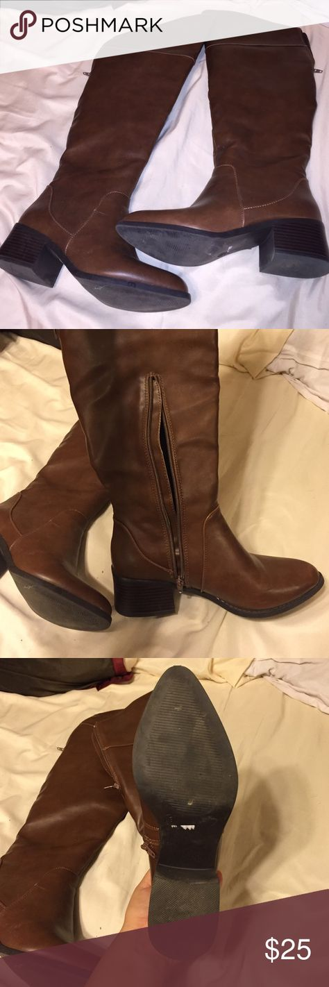 Tall brown boots Tall brown boots. Zipper located at the top back part as well as lower inside part. Small thick heel. Brand new. Charlotte Russe Shoes Over the Knee Boots