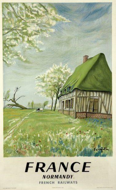 Vintage Railway Travel Poster SNCF - Normandie - France - 1958.