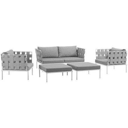 Fantastic Modway Harmony 5 Piece Outdoor Patio Aluminum Sectional Sofa Ncnpc Chair Design For Home Ncnpcorg