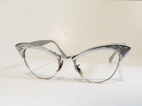 2fb91b806bf2 1950s vintage cateye eyeglass frames in gently used condition! Lovely  coloring with aluminum etching on frames