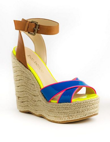 Enzo Angiolini Nomas Platform Jute Wedge Sandals BLUE