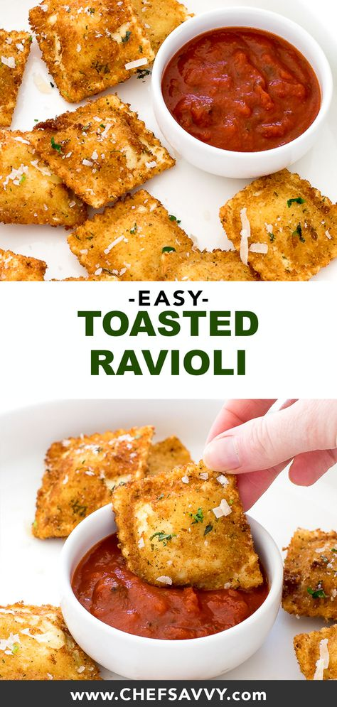 Toasted Ravioli. A super easy appetizer made with cheese ravioli fried until golden brown and topped with Parmesan cheese and fresh parsley. Serve with marinara sauce for dipping! Perfect party food for football season! | chefsavvy.com #ravioli #toasted #toastedravioli #italian #appetizer #recipe