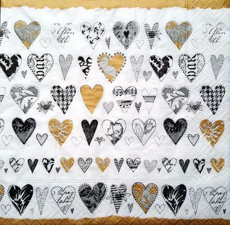 4 Vintage Table Paper Napkins for Decoupage Lunch Decopatch  Golden Hearts