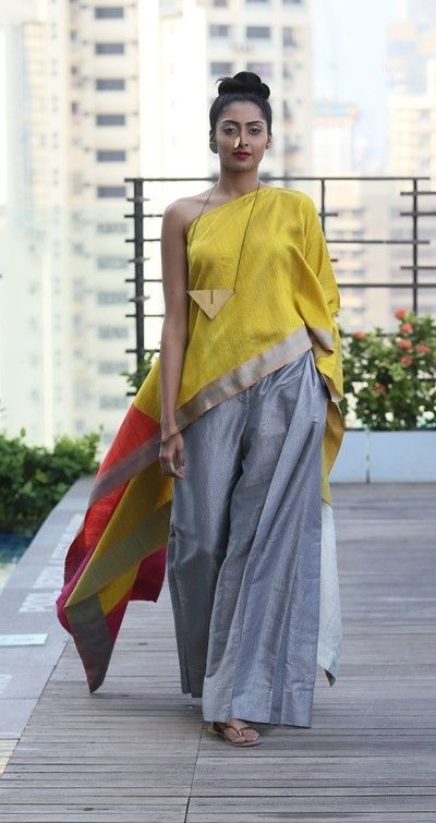 payalkhandwala - - One Shoulder Silk Poncho and Brocade Palazzo