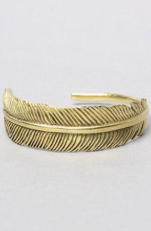 The Feather Bracelet in Brass by Monserat De Lucca Jewelry