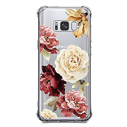 release date 470c8 b6029 Amazon.com: Galaxy S8 Case, Crystal Clear Case with Design Rose ...