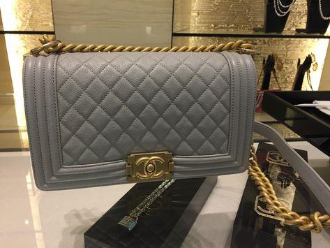 c2fde7b5df03 Can t resist! Grey Chanel Boy GHW Holo 25