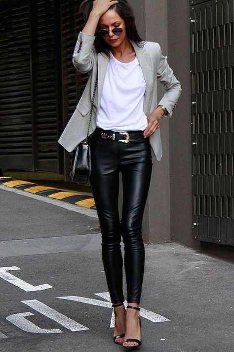New Fashion Outfits Inspiration Leather Leggings Ideas