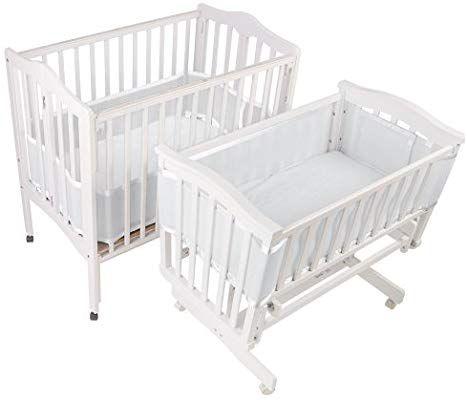 Amazon Com Breathablebaby Mesh Crib Liner Portable Mini Cribs Made Of Lightweight Breathe Through Poly Crib Liners Breathable Bumper Crib Bumper Set
