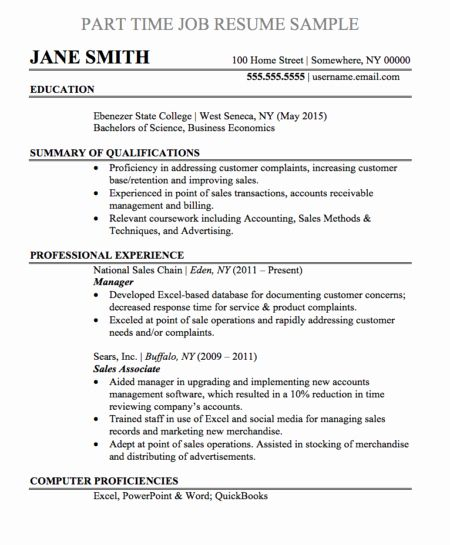 40 Part Time Job Resume In 2020 Job Resume Examples Job Resume