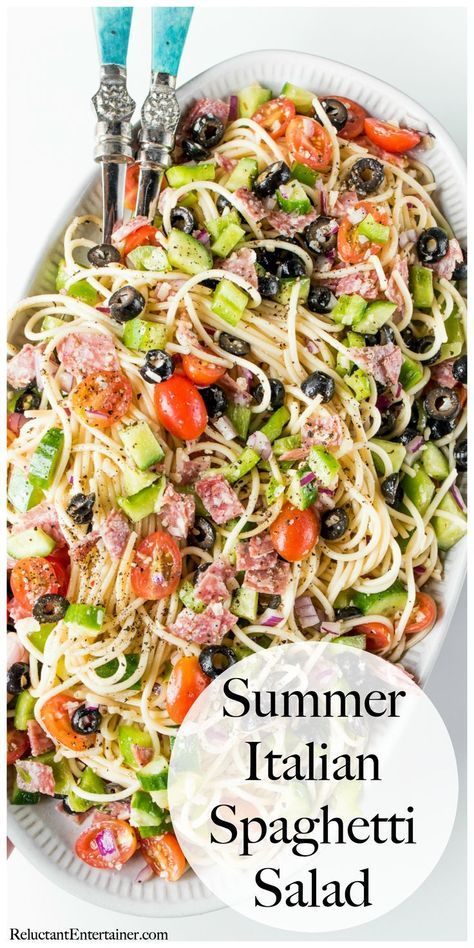 Summer Italian Spaghetti Salad recipe with Italian dressing, and other fresh garden ingredients.A Summer Italian Spaghetti Salad recipe with Italian dressing, and other fresh garden ingredients. Italian Spaghetti Salad Recipe, Cold Spaghetti Salad, Summer Spaghetti, Spagetti Pasta Salad, Spaghetti Squash, Cooking Recipes, Healthy Recipes, Healthy Salads, Taco Salads